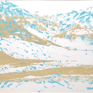 Endlich Schnee 3, 2011, 40 x 50 cm, Siebdruckübermalung