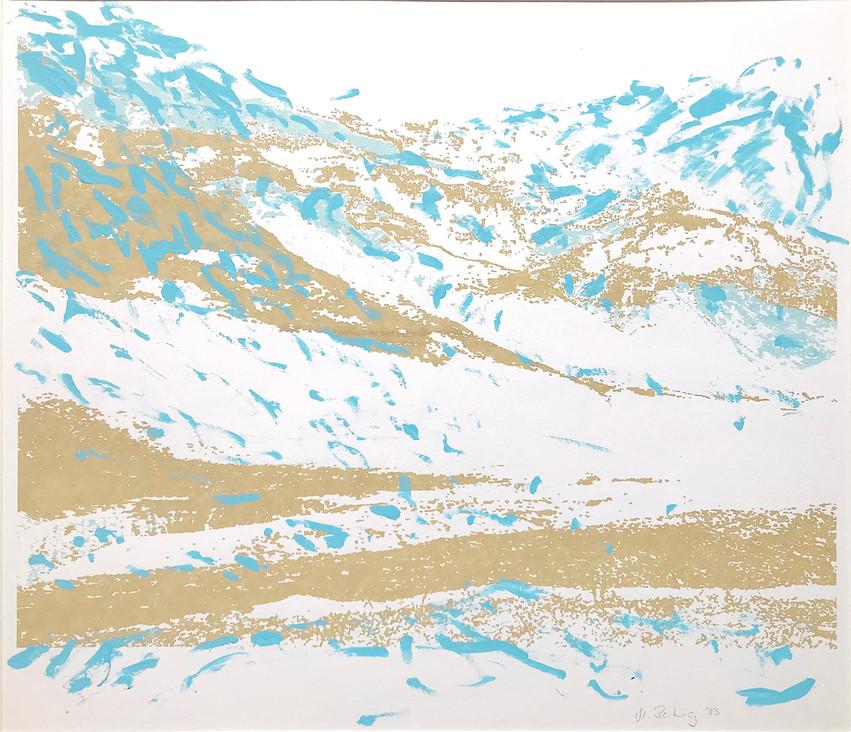 Endlich Schnee 3, 2011, 40 x 49,7 cm, Siebdruckübermalung auf Papier