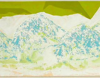 Berggeflüster, 2007, 38 x 100 cm, Siebdruck/ Mischtechnik