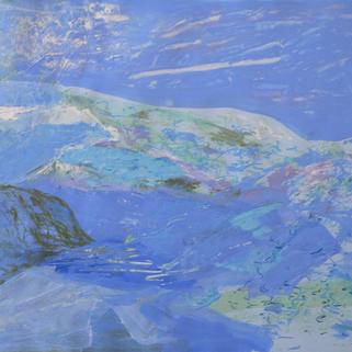 Winter, 64 x 77 cm, Siebdruckübermalung