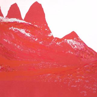 Die Roten, 2013, 64 x 77 cm, Siebdruckübermalung