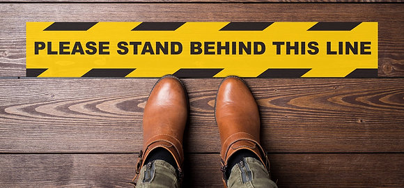 Stand Behind the Line Floor Sticker 600X90mm (5 PACK) - Buying Group