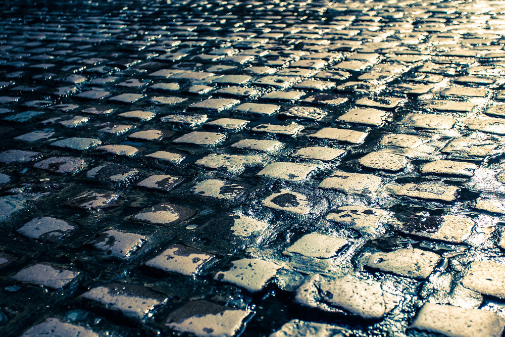 Wet cobblestone street in Europe