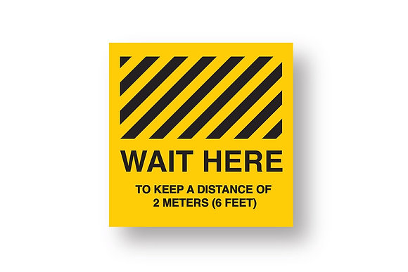 Wait Here Non-Slip Floor Sticker 260X260mm (5 pack)