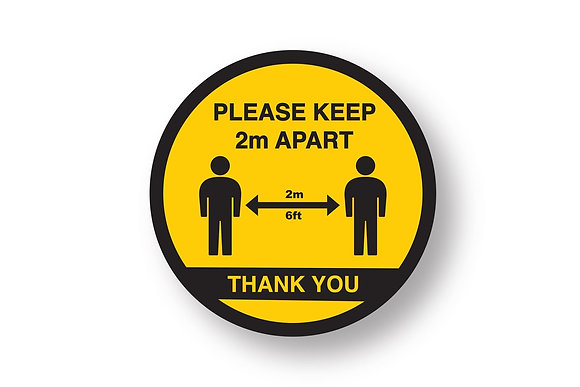 Round Social Distancing Floor Sticker 280X280mm (5 pack) - GAA