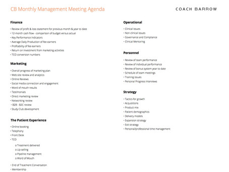 Your monthly management meeting agenda