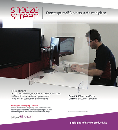 'Sneeze Screen' - 700x600mm - Pack of 2