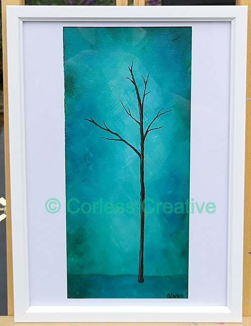Silhouette Tree in Blue