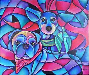 retratos de perros, pug, arte abstracto figurativo