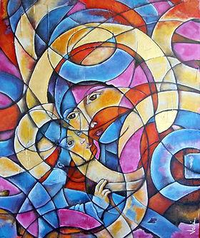 virgen con niño, arte religioso, arte mexicano. cuadros modernos, abstracto figurativo