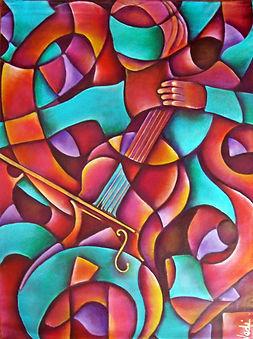 Arte de música, chelo, arte en la pared, abstracto figurativo, cuadros de música