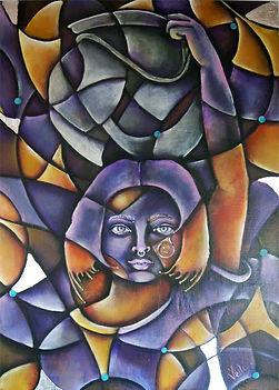 arte étnico, abstracto figurativo, cuadros modernos, arte en la pared, vasija