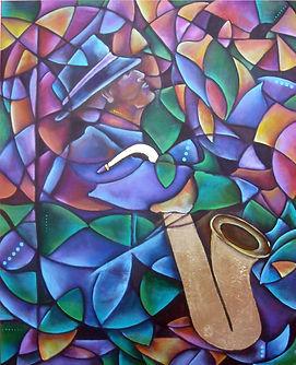 cuadros de musica, decoración de paredes, arte mexicano, abstracto figurativo, saxofón, cuadros modernos