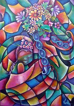 arte mexicano, cuadros moderos, mujer con bebe en la espalda, abstracto figurativo, decoración de paredes