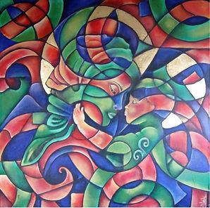 arte moderno, arte religioso, virgen con niño, abstracto figurativo, pintora mexicana, arte en la pared, cuadros con hoja de oro