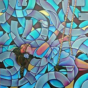 niña en columpio, cuadros abstractos, arte en la pared