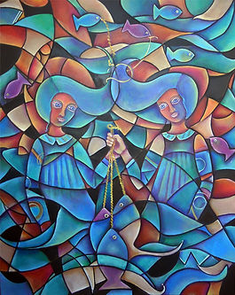 Peces, pescar, cuadros modernos,abstracto figurativo