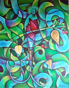 Quetzal,arte en la pared, abstracto figurativo, paredes, cuadros modernos