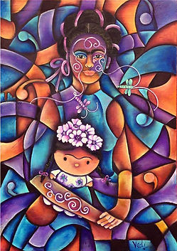 retrato de la niña frida, arte mexicano, colores mexicanos, decoracion de paredes, cuadros modernos, abstracto figurativo