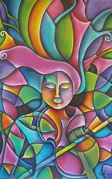 cuadros de música, arte en la pared, violinista, violín,