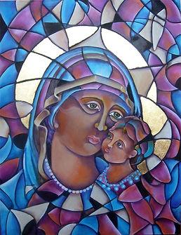 Virgen con niño, arte religioso, abstracto figurativo, arte en la pared, decoración, cuadros modernos