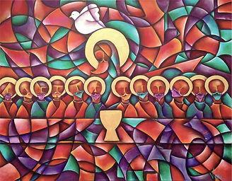 cuadro de la última cena, cuadros modernos, arte religioso, abstracto figurativo, arte mexicano