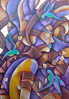 Mujer con colibries, cuadros modernos