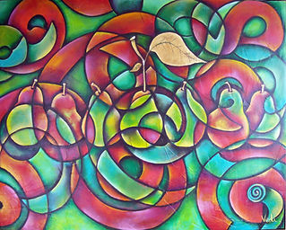 bodegón moderno, cuadros decorativos, arte mexicano, abstracto figurativo, peras, cuadros de peras