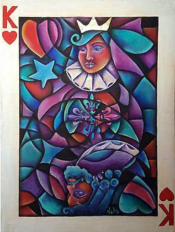 cuadros modernos, decoracion de paresdes, interiores, baraja, reina, rey, arte mexicano