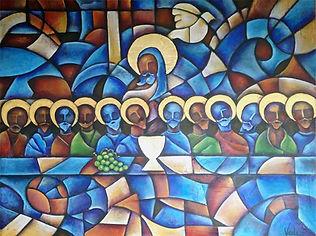 arte de la última cena, jesus y apostoles, arte religioso , cuadros modernos, abstracto figurativo