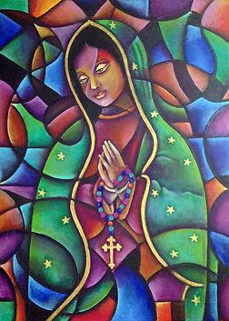 cuadro de la virgen de guadalupe, arte mexicano, colores mexicanos, cuadros modernos, arte religioso, abstracto figurativo