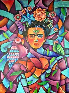 retrato de frida, cuadros modernos, arte mexicano, decoración de paredes, interiores, colores mexicanos, mexico, loros