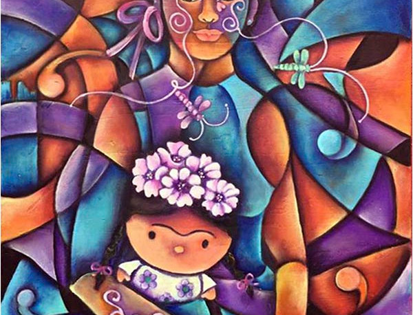 Frida con muñeca/Frida with doll