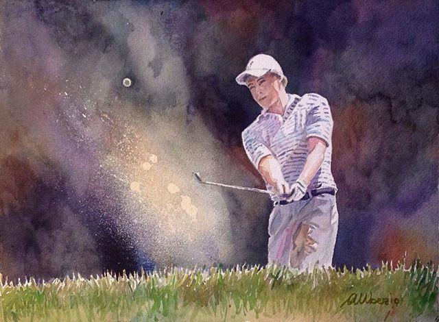 Bunker - Watercolor on paper - cm30x40 #watercolor #acquerelli #golf #golflovers #golfbunker #landsc