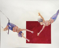 Trust me - watercolor on paper-cm45x35_Out of the box series #chicago #trapeze #lifeisacircus #circu