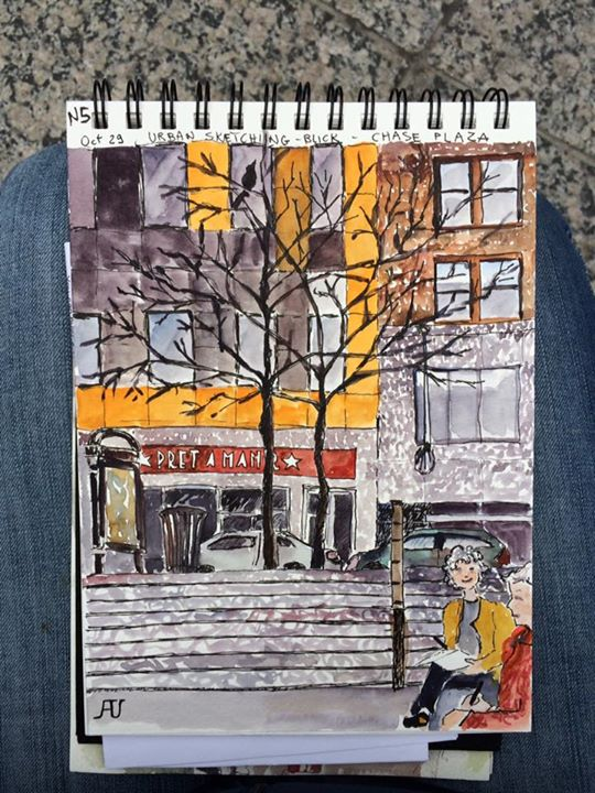 Chase plaza with urban sketchers Chicago