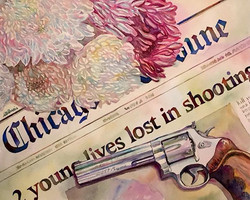 Gun, lives and funeral flowers - Watercolor on paper - cm