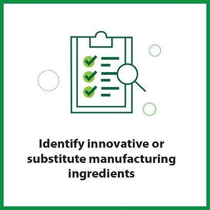 Identifying innovative or substitute manufacturing ingredients frommi
