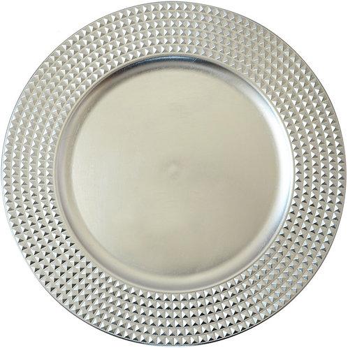 Modern Flower Silver Glass Plate