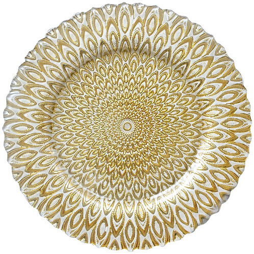 Gold Peacock Glass Charger Plate