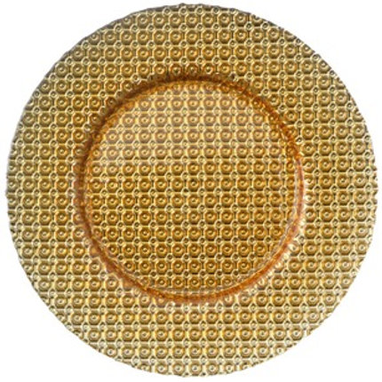 Gold Beaded Glass Charger Plate