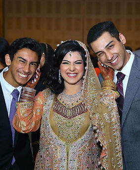 Saba along with her younger brothers share a light-hearted moment at her wedding