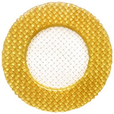 Gold Beaded Band Glass Charger Plate