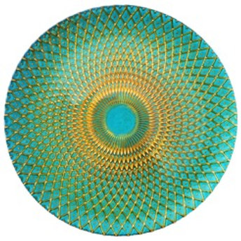 Gold Teal Peacock Glass Charger Plate