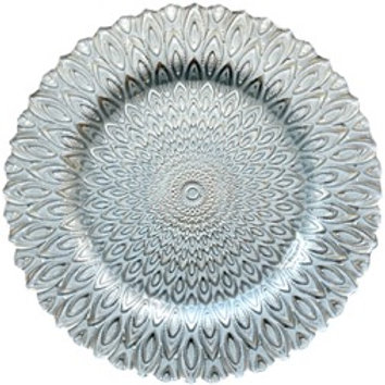 Silver Peacock Glass Charger Plate