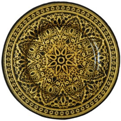 Turkish Black Gold Glass Charger Plate