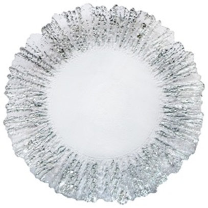 Silver Frost Glass Charger Plate