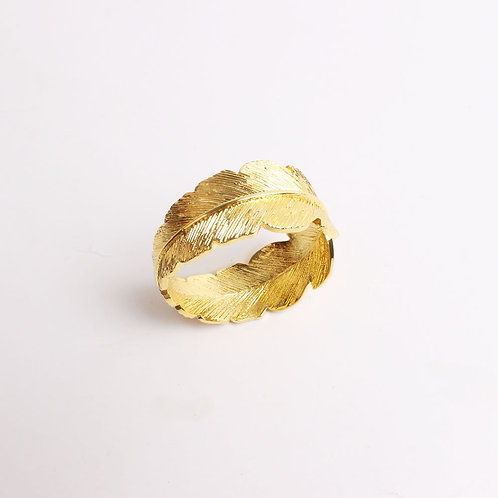 Gold Feather Napkin Ring