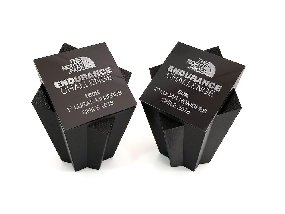 Trofeos del Northface Endurance Challenge 2018 Chile. Diseñados y fabricados por 3DWorks.