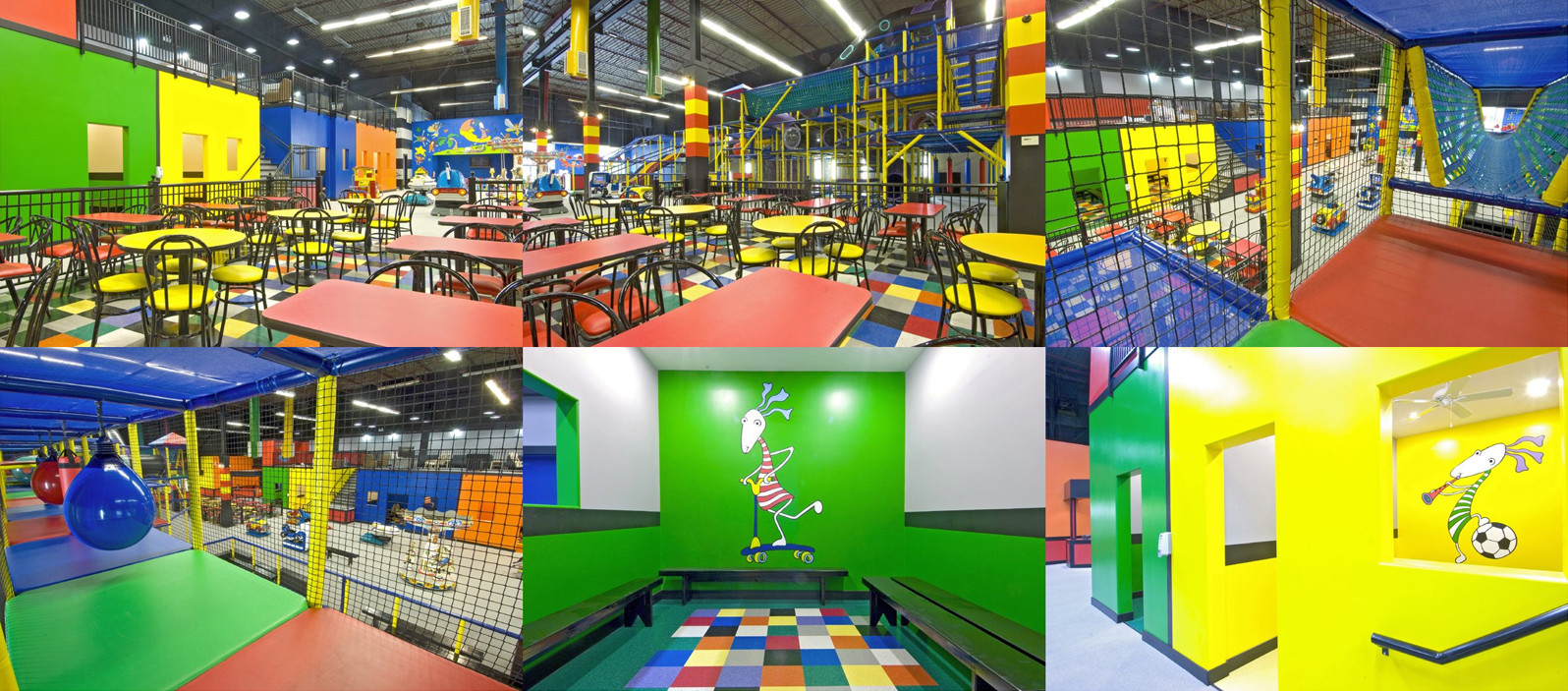The truly innovative interior design of the 12,000-square-foot space encourages creativity with a range of bright colours used for colour coding areas and rooms, defined by geometric shapes and well balanced with highly artistic wall murals by Ivan Rados. Koko's indoor playground is designed for children 3 months to 12 years old with a well defined area for specific activities including: toddler play area, a free-play soft area, semi-private rooms, cafe and dining area, and even a parent's lounge placed on the open, upper balcony. The gourmet cafe bar is outstanding, offering an array of wholesome choices of healthy kid's meals along with an adults menu including coffee, drinks, snacks and delicious salads. At Koko's Center, children are provided with the opportunity to participate in various activities, which promote physical fitness, socialization, creative expression and safety awareness. Thoughtful design placed an emphasis on the layout and a targeted activity mix, allowing children of different ages and abilities to maneuver comfortably from activity to activity. All around visibility, strict definition of spaces, designation for age appropriate activities, grand spatial comfort with colour-coded traffic flow, multiple play modalities which accessibility for all abilities, internal and external barriers, and secluded yet overlooking parents lounge are used as fundamental principles and key guidelines in designing Koko's indoor playground.